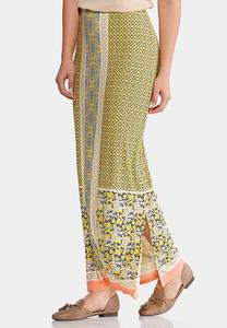 Plus Size Gold Floral Medallion Maxi Skirt