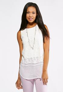 Double Layer Lace Tank-Plus