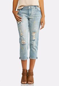 Cropped Distressed Splatter Jeans