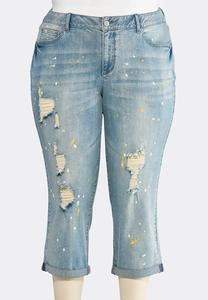 Cropped Distressed Splatter Jeans- Plus