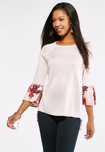 Floral Woven Back Sweater