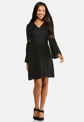 Plus Size Crochet Trim Fit and Flare Dress | Tuggl