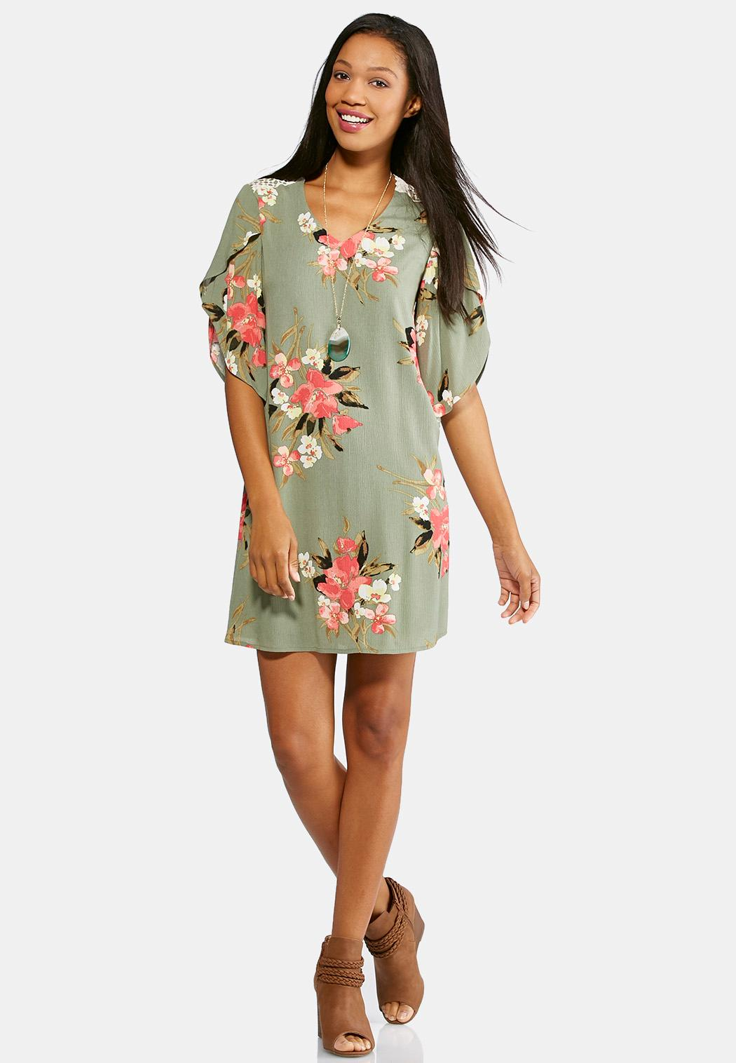 Plus Size Floral Tulip Sleeve Dress A-line & Swing Cato Fashions