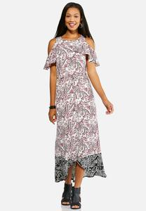 Ruffled Cold Shoulder Maxi Dress
