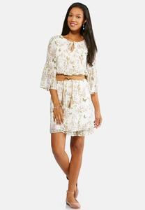 Belted Butterfly Floral Dress