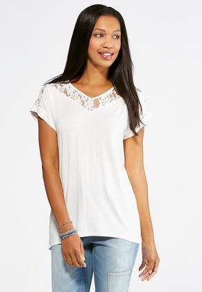 Lace Cuff Sleeve Top- Plus
