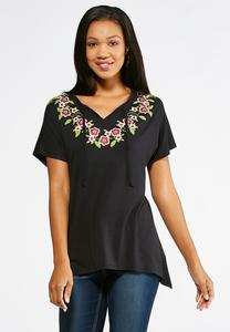 Puff Floral Print Top-Plus