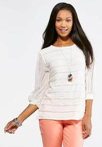 Sheer Sleeve Hacci Top