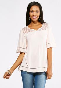 Ladder Stitch and Lace Top-Plus
