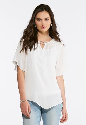 Hardware Embellished Poet Top- Plus