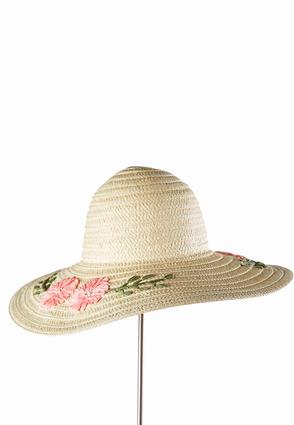 Woven Floral Floppy Hat