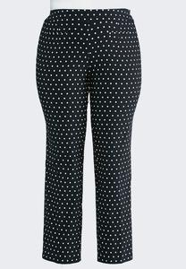 Dotted Bengaline Ankle Pants-Plus