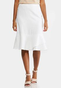 Linen Flounce Skirt-Plus