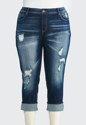 Plus Size Distressed Cropped Jeans