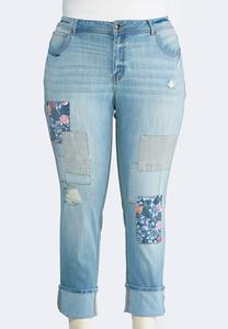 Distressed Floral Patchwork Jeans-Plus