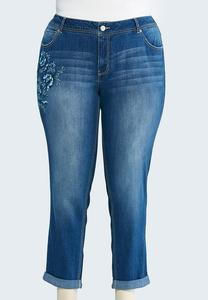 Floral Embroidered Ankle Jeans-Plus