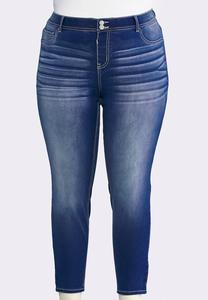 Whiskered Super Skinny Ankle Jeans-Plus