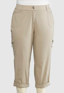 Roll Tab Cuff Cargo Crop Pants-Plus