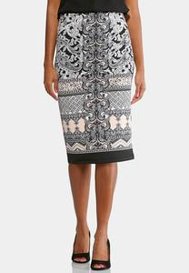 Ornate Paisley Midi Skirt-Plus