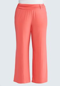 Plus Size Ruched Loop Palazzo Pants