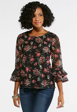 Floral Lace Ruffled Sleeve Top