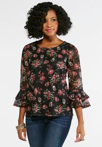 Floral Lace Ruffled Sleeve Top-Plus