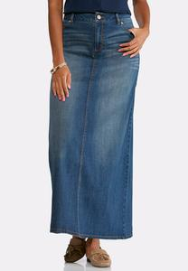 Vintage Denim Maxi Skirt-Plus