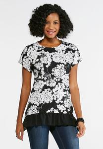 Black and White Chiffon Hem Top-Plus