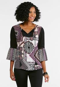 Fanciful Patchwork Poet Top