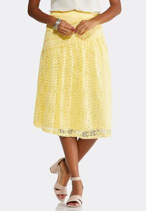 Yellow Leaf Lace Skirt- Plus