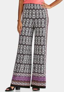Mixed Border Print Palazzo Pants