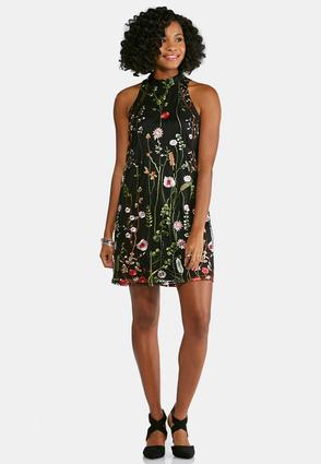 Floral Embroidered Swing Dress