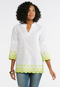 Embroidered Eyelet Poet Tunic