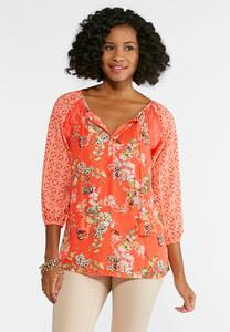 Mixed Floral Lace Trim Top