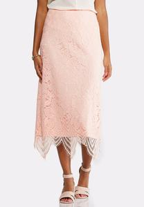 Plus Size Scalloped Lace Maxi Skirt