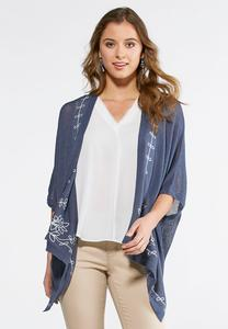 Floral Embroidered Kimono Sweater