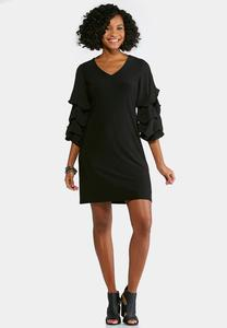 Plus Size Tiered Bubble Sleeve Dress