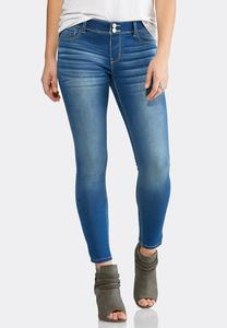 Whiskered Super Skinny Ankle Jeans