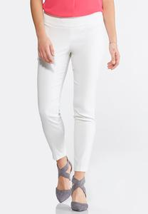 Pull-On Solid Ankle Pants