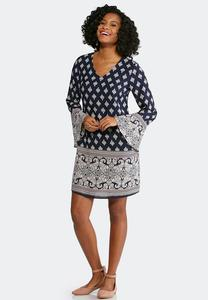 Plus Size Medallion Bell Sleeve Dress