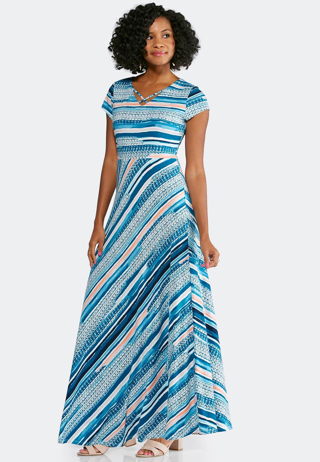 Plus Size Mixed Stripe Knit Maxi Dress Maxi Cato Fashions