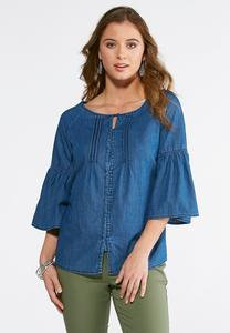 Pintucked Denim Woven Top