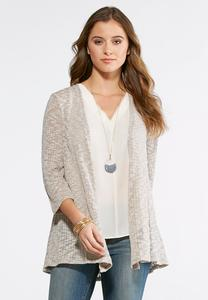 Crochet Trim Cardigan-Plus