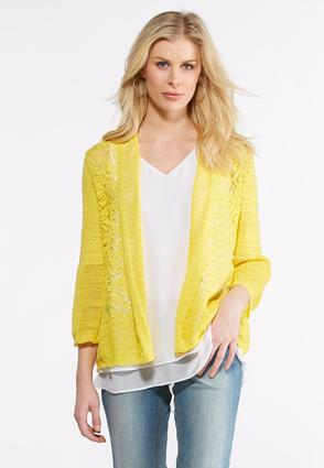 Pointelle Bell Sleeve Cardigan at Cato in Brooklyn, NY | Tuggl