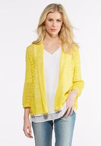Pointelle Bell Sleeve Cardigan
