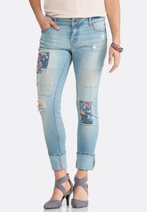 Distressed Floral Patchwork Jeans