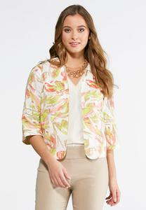 Tropical Cropped Linen Jacket-Plus