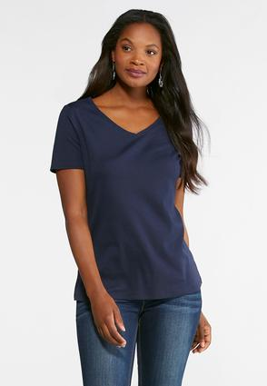 Solid V- Neck Tee