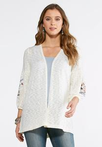 Embroidered Balloon Sleeve Cardigan -Plus