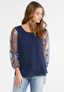 Mesh Embroidered Sleeve Top-Plus